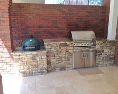 Archadexk designed and built this custom outdoor kitchen with a Big Green Egg