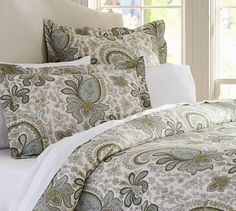 For bottom of bed in guest room? Use with white diamond Matelasse coverlet. Charlie Paisley Organic Duvet Cover & Sham #potterybarn