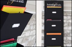 Wall pockets inspired by Ballard Designs. Make a sleek, customized organizer for all those homework folders/workbooks/mail/bills/receipts. I have to make one of these. #organized #diy #create