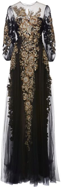 Marchesa Embroidered Long Sleeve Gown Black on shopstyle.com