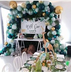 Dekoration Awesome Balloon coming Decor DIY Ideas inspirations Awesome DIY Balloon Decor Ideas Inspirations for Your Coming Party Safari Theme Birthday, Boys First Birthday Party Ideas, 1st Birthday Themes, Wild One Birthday Party, Baby Boy First Birthday, Safari Party, Boy Birthday Parties, Birthday Party Decorations, Boy Baby Shower Themes