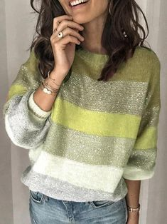 Autumn New Popular Casual Loose Sweater Multi Color O-Neck Striped Pullovers Women Knit Sweater Rainbow Sweater Plus Size 3XL Sequin Sweater, Loose Sweater, Long Sleeve Sweater, Fall Sweaters, Casual Sweaters, Sweaters For Women, Knit Sweaters, Pullover Mode, Rainbow Sweater