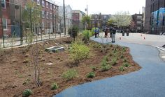 A rain garden and porous pavement enhanced this schoolyard in South Philadelphia. Credit: Philadelphia Water