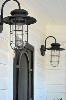 Farmhouse Porch...love these light fixtures :)