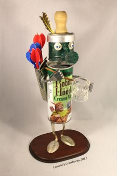 """""""Robin Hood"""" ~ Original found object/junk art created by Laurie Schnurer in 2015. To purchase one of Laurie's Creatures go to https://www.facebook.com/LauriesCreatures."""