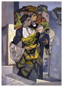 Celtic Baby Carrying painting of mothers and babies in Welsh Shawls by John Elwyn
