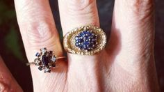 Mid Century Modern Sapphire Cluster Ring in 18k Gold