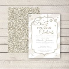 Winter Baby Shower Invite, Baby it's Cold Outside Baby Shower, Snowflake Baby shower invite