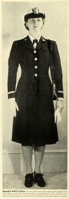 image of ww11 navy white wave  | 1942 Print WWII Wartime Waves Uniform Women in War US Navy Mainbocher ...