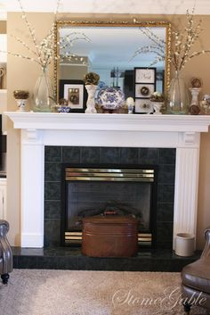 38 Best Modern Farmhouse Fireplace Mantel Decor Ideas - Home/Decor/Diy/Design Farmhouse Fireplace Mantels, Fireplace Mantle, Fireplace Ideas, Fireplaces, Unused Fireplace, Summer Mantel, Condos For Rent, The Way Home, Modern Farmhouse