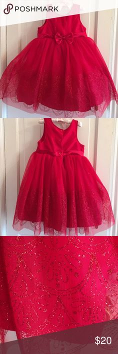 Girls 5T red holiday dress Girls red holiday dress with red bow in front. Subtle sparkly design on tulle skirt. 3 buttons in back. Beautiful! Never worn but no tags. Osh Kosh  Dresses Formal