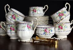 Royal Albert Dessert Set of 6, Teacups, Saucers, Side Plates, Creamer and Sugar…