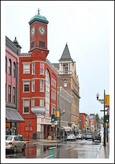 the Shenandoah Valley., Virginia, USA. Staunton is one of the main cities of the valley and has many fine historic structures. Among the more interesting is the town clocktower, dominating the intersection of Central and Beverly Streets. Built in 1890.