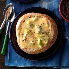 Cheesy Broccoli Soup in a Bread Bowl Recipe