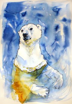 Polar Bear Original Ink Illustration by Smogartist on Etsy