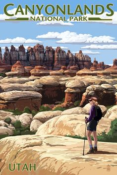 Canyonlands National Park Utah Hiker Scene Giclee Gallery Print Wall Decor Travel Poster * Find out more about the great product at the image link. (This is an affiliate link) National Park Posters, Us National Parks, Wisconsin, Michigan, Canyonlands National Park, Vintage Travel Posters, Illustrations, Wyoming, New Mexico