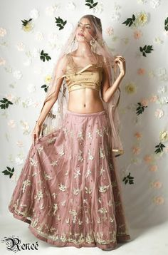Dusty Pink & Gold Lehenga | VIVA-LUXE