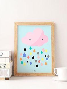Lluvia Nube de Colores - Ilustración - Habitación Bebé Niños Decoración Infantil Regalo Embarazo A3 A4