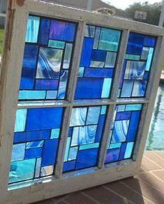 "Blue Stained Glass Mosaic Vintage Repurpose Wooden Window ""Blue Rhapsody"" by zelma Stained Glass Crafts, Stained Glass Designs, Stained Glass Panels, Stained Glass Patterns, Leaded Glass, Mosaic Glass, Mosaic Diy, Fused Glass, Wooden Window Frames"