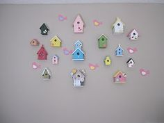 Bird Houses on a Wall.... made with the little dollar birdhouses from Michael's and JoAnn's.