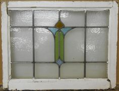 "MID SIZED OLD ENGLISH LEADED STAINED GLASS WINDOW Pretty Abstract 25"" x 19.25"" in Antiques, Architectural & Garden, Stained Glass Windows 