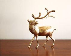 {vintage brass reindeer}