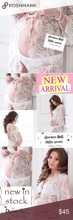 """Maternity photo prop Gift NEW lace Robe White MED Welcome to Dream BiG little Ones Boutique!  Collection: DreamCatchers photo prop Classic Maternity """"Peek-A-Boo"""" Lace Robe Our customer's favorite features include """"peek-a-boo"""" belly & scalloped lining Fabric is NOT itchy :) 65% cotton, 35% polyester, Ribbon tie Sizes: XS S M L THIS POSTING IS FOR A WHITE Robe, Size MEDIUM. Length: 46""""- 46.5"""" Sleeve length: 20.5""""-21.25"""" waist- straight across seam-seam 22""""-23"""" hips- straight across seam-seam…"""