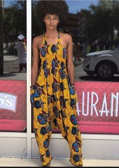 How to Rock Out In Ankara Dungarees - Sisi Couture African Dresses For Women, African Wear, African Attire, African Fashion Dresses, African Women, Fashion Outfits, African Style, Fashion Ideas, African Inspired Fashion