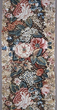 Textile, late century - Floral stripe on a floral ground late. - Textile, late century – Floral stripe on a floral ground late - Motifs Textiles, Textile Prints, Textile Patterns, Textile Design, Textile Art, Fabric Design, Pattern Design, Motif Floral, Floral Stripe