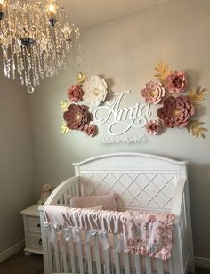 This photo is genuinely a stunning style theme. Rose Nursery, Gold Baby Nursery, Floral Nursery, Girl Nursery, Floral Wall, Nursery Wall Decor, Baby Room Decor, Gold Kindergarten, Baby Room Design