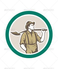 Prospector With Shovel in Circle