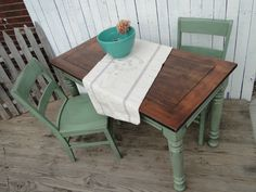 Mini Farmhouse Table and Chairs!! Cool light green and medium stained top. Modern Vintage