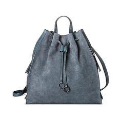 Women's Modern Suede Backpack Handbag - Denim, Denim Blue ($50) ❤ liked on Polyvore featuring bags, backpacks, denim blue, draw string bag, suede fringe backpack, day pack backpack, target bags and denim rucksack