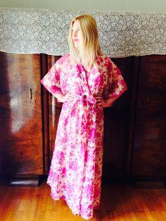 Rose Garden Lingerie Set/Boho Wedding Kimono/70's by LydiaLoveVtg