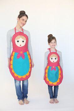 Womens Babushka apron gift for her hostess gift  Hosting