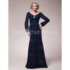 Trumpet/Mermaid V-neck Floor-length Chiffon Mother of the Bride Dress