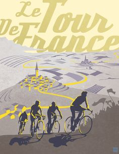 Retro Tour de France poster illustration print