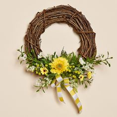 "Sunny Gardens 8"""" Grapevine Wreath with Yellow and White Daisies, Berries, a Gerbera Daisy and a Sunny Yellow and White Bow"