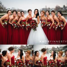 Love the holiday-inspired bouquets and red bridesmaids dresses for this Long Island winter wedding! Photographed by Rochester wedding photographer Katie Finnerty Photography Winter Wedding Bridesmaids, Red Bouquet Wedding, Red Bridesmaids, Wedding Bridesmaid Dresses, Burgundy Wedding, Red Wedding Colors, Christmas Bridesmaid Dresses, Cranberry Wedding Colors, Apple Red Wedding