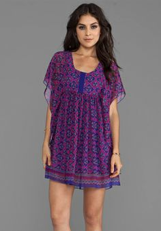 ANNA SUI Foulard Border Print Chiffon Dress in Fuchsia Multi