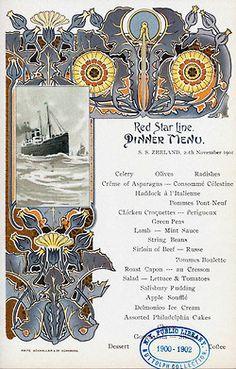 Vintage menu card Red Star Line
