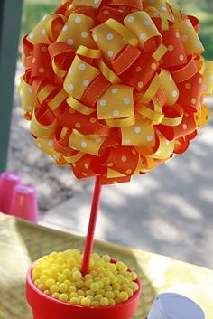 sunshine party ribbon topiary centerpiece