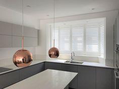 Kitchen Shutters in modern kitchen Kitchen Shutters, Interior Shutters, Wooden Shutters, Window Shutters, Kitchen Nook, Eat In Kitchen, Kitchen Decor, Kitchen Design, Shutter Blinds