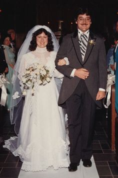 The return of formality in weddings also brought back the traditional morning suit.Pictured: Audrey and Kenneth O'Gorman, married on May Vintage Wedding Photos, Vintage Bridal, Vintage Weddings, 1980s Wedding Dress, 1970s Wedding, Bridal Gowns, Wedding Gowns, Fairytale Gown, Wedding Attire