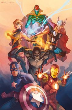 Avengers commission featuring Cap, Iron Man, Black Panther, Ms. Marvel, Thor, and Vision in their classic costumes.