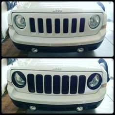 2017 Jeep Patriot With Black Angry Eyes Headlight Covers Grille Inserts Before
