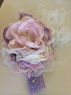 Purple Flower Headband Baby Girl Headband by AvryCoutureCreations