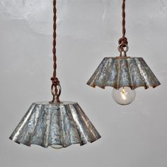 Vintage Industrial Rustic Modern Brioche Tin Pendant Light - Barn Aged Patina (SM) // Vintage Style Cloth Twisted Cord & Bakelite Plug