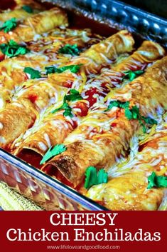 Cheesy Chicken Enchiladas My favorite enchilada recipe! Loaded with chicken and cheese, these EASY Cheesy Chicken Enchiladas come out of the oven with a slight crunch, which makes them a little extra special. Chicken Cheese Enchiladas, Rotisserie Chicken Enchiladas, Sour Cream Enchiladas, Homemade Enchiladas, Chicken Enchilada Casserole, Enchilada Recipes, Homemade Enchilada Sauce, Mexican Chicken Recipes, Easy Recipes With Chicken