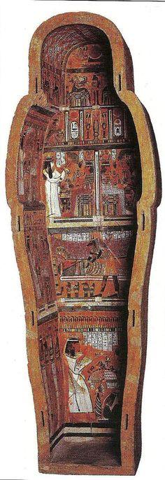Base del sarcófago momiforme de Djedhorefankh. III Per.Interm. XXII Din. El Cairo, Museo Egipcio. La pintura pierde también el esplendor del anterior reino, y queda relegada a manuscritos, estelas y sarcófagos. Estos últimos siguen embelleciendose con escenas en registros, alusivos al mundo de ultratumba . En este sarcófago las imágenes son de vivos colores que destacan sobre un fondo rojizo.